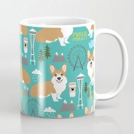 Corgi seattle washington welsh corgi pattern print dog lover gifts space needle ferris wheel coffee Coffee Mug