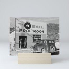 The Eight Ball Pool Room, 1940. Vintage Photo Mini Art Print