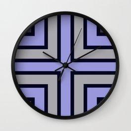 Blue, grey geometric pattern. Wall Clock