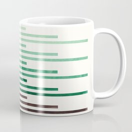 Deep Green Aquamarine Minimalist Mid-century Modern Stripe Pattern Art Staggered Stripes Coffee Mug