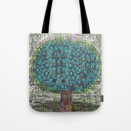 Tree Town - Magical Retro Futuristic Landscape Tote Bag