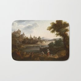 Andrés Cortés y Aguilar , River Landscape with Washerwoman and Fisherman 1863 2 Bath Mat