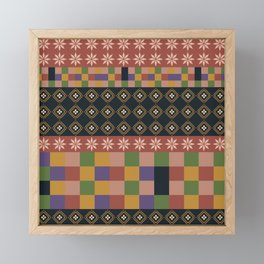 flowers and squares ethnic patchwork Framed Mini Art Print