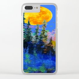 FULL MOON OVER BLUE MOUNTAIN FOREST DESIGN Clear iPhone Case
