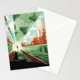 The world that wakes, the world that dreams Stationery Cards