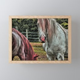 Powder Pink Horses Framed Mini Art Print