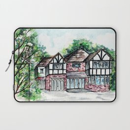 English Tudor-Style House, Watercolour Painting Laptop Sleeve