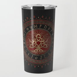 Tree of life with Triquetra Black Red Leather and gold Travel Mug