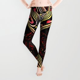 8755-KMA Submissive Woman on Mirror Presents Her Naked Body Zebra Striped Abstract Leggings