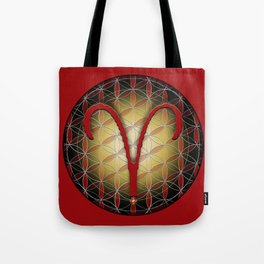 Flower of Life ARIES Astrology Design Tote Bag