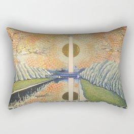 Obelisk, Original contemporary Fine Art American Landscape, 24 x 36 acrylic painting on canvas Rectangular Pillow