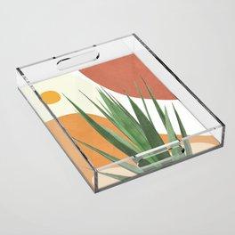 Abstract Agave Plant Acrylic Tray