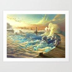 on shore of the sky Art Print