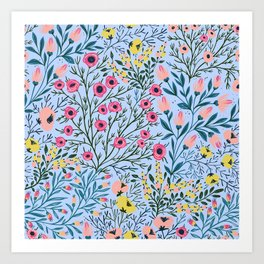Pink Yellow Ditsy Floral Print on Light Blue Background Art Print