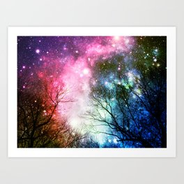 Black Trees COLORFUL Space Art Print