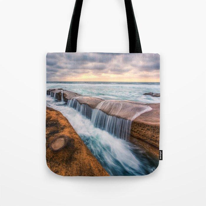 Ocean waves landscape Tote Bag