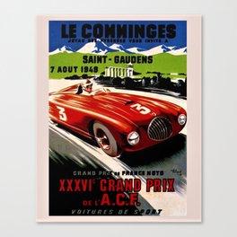 Vintage 1949 Le Comminges Grand Prix Racing Saint Gaudens Wall Art Canvas Print