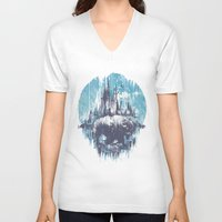 wanderlust V-neck T-shirts featuring Wanderlust by Robson Borges