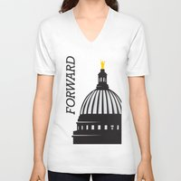 wisconsin V-neck T-shirts featuring Forward Wisconsin by Luther Tenbridges