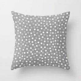 GRAY WHITE STARS Throw Pillow