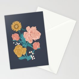 Paint by Numbers Florals on Navy Stationery Cards