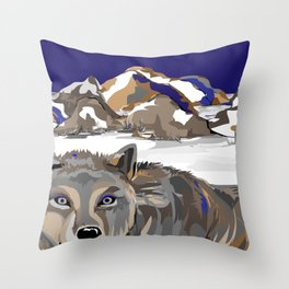 """""""Lone Wolf"""" Paulette Lust's Original, Contemporary, Whimsical, Colorful Art  Throw Pillow"""