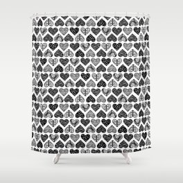 Wild Hearts in Black and White Shower Curtain