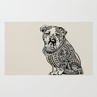 english bulldog Area & Throw Rugs featuring Polynesian English Bulldog by Huebucket