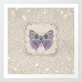 Sparkling Boho Butterfly Art Print
