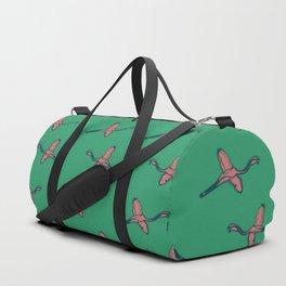 Pink Flamingo watercolor pattern emerald Duffle Bag