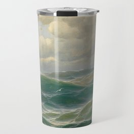 Vintage Ocean Oil Painting by Max Jensen Travel Mug