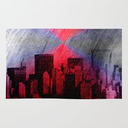 cityscape and colored sky -3- Rug