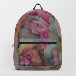 Rooster & Hen Chickens Painting Country style decor Vegan Birds lover gift Backpack