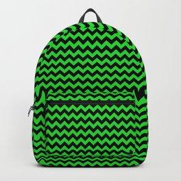Mini Dark Black and Bright Monster Green Halloween Chevron Stripes Backpack