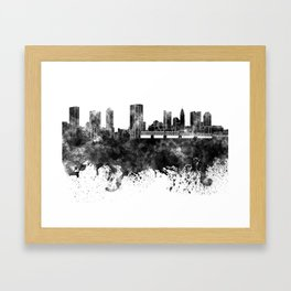 Columbus skyline in black watercolor on white background Framed Art Print