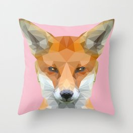 Low poly fox on pink background Throw Pillow
