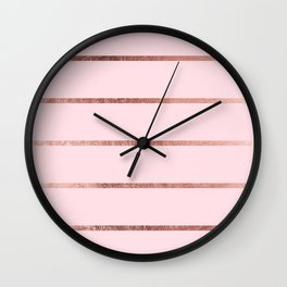 Elegant blush pink faux rose gold pastel color stripes Wall Clock
