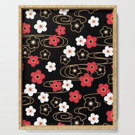 Black Sakura Kimono Pattern Serving Tray