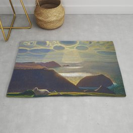 Rays of Sun off the Sea Cliffs Sturrall Donegal, Ireland by Rockwell Kent Rug