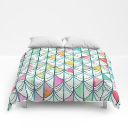 Pencil & Paint Fish Scale Cutout Pattern - white, teal, yellow & pink Comforters