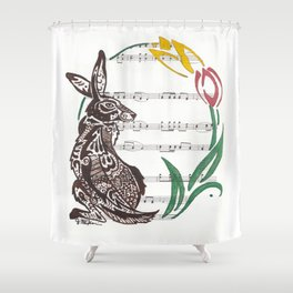 Spring Rabbit  (Jack rabbit and tulips on hymn) Shower Curtain