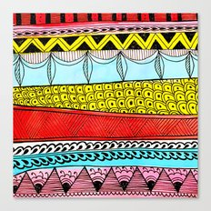 Illustrated Stripes in Modern Patterns Canvas Print