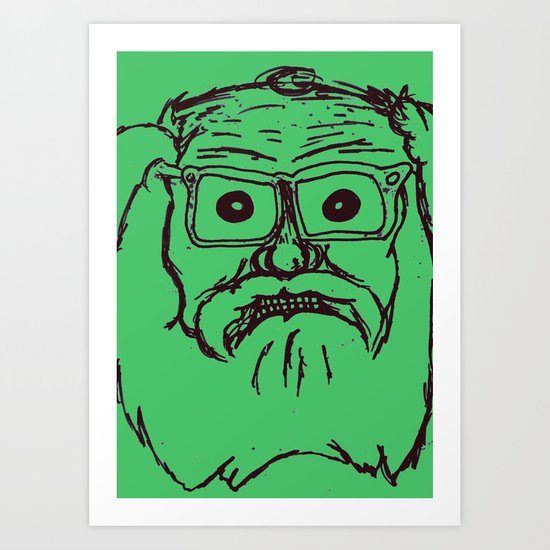 Allen ginsberg in green Art Print