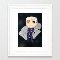 battlestar Framed Art Prints featuring Colonel Tigh 2 | Battlestar Galactica by The Minecrafteers
