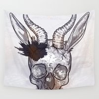 heavy metal Wall Tapestries featuring Heavy Metal Horned Skull by Sam Posnick