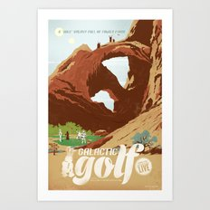 Galactic Golf - Retro travel poster Art Print
