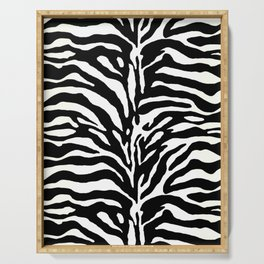 Wild Animal Print, Zebra in Black and White Serving Tray