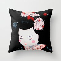 geisha Throw Pillows featuring Geisha by Maripili