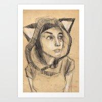 kitsune Art Prints featuring Kitsune by Ryan Sheldon Art