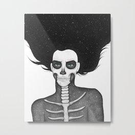 Black and White Galaxy Skull Girl Metal Print